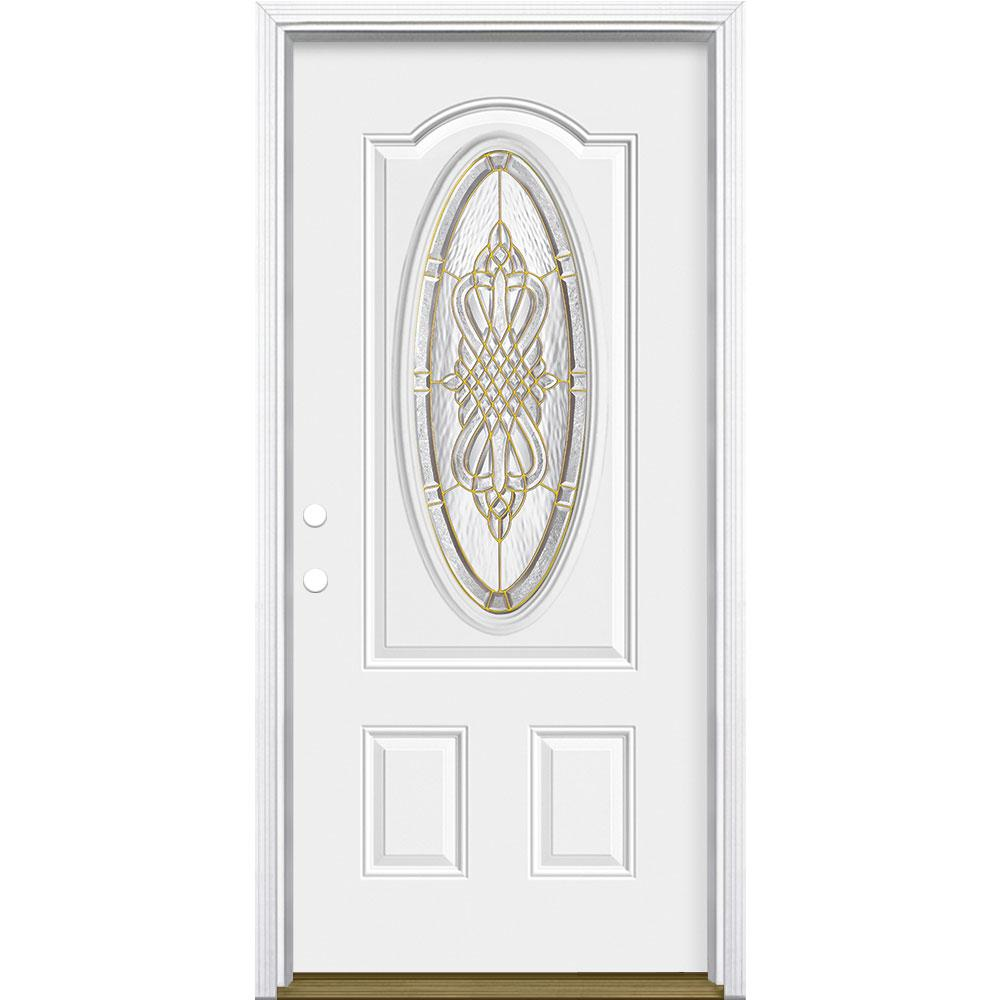 Masonite 36 in. x 80 in. New Haven 3/4 Oval Lite Right-Hand Inswing Primed Steel Prehung Front Exterior Door with Brickmold