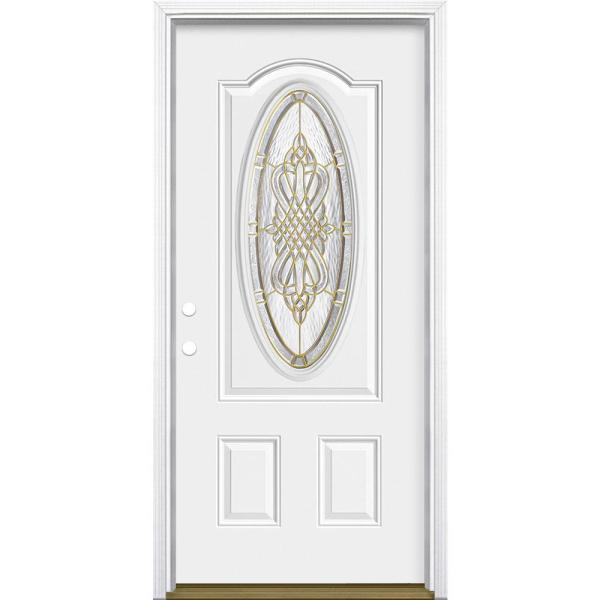 36 in. x 80 in. New Haven 3/4 Oval Lite Right-Hand Inswing Primed Steel Prehung Front Exterior Door with Brickmold