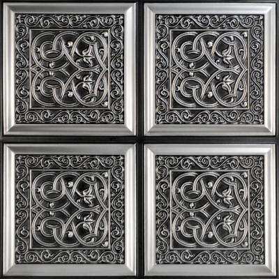 Lover's Knot 2 ft. x 2 ft. PVC Glue-up Ceiling Tile in Antique Silver