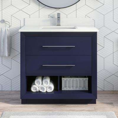 Rio II 36 in. W x 22 in. D Bath Vanity in Blue ENGRD Stone Vanity Top in White with White Basin Power Bar and Organizer