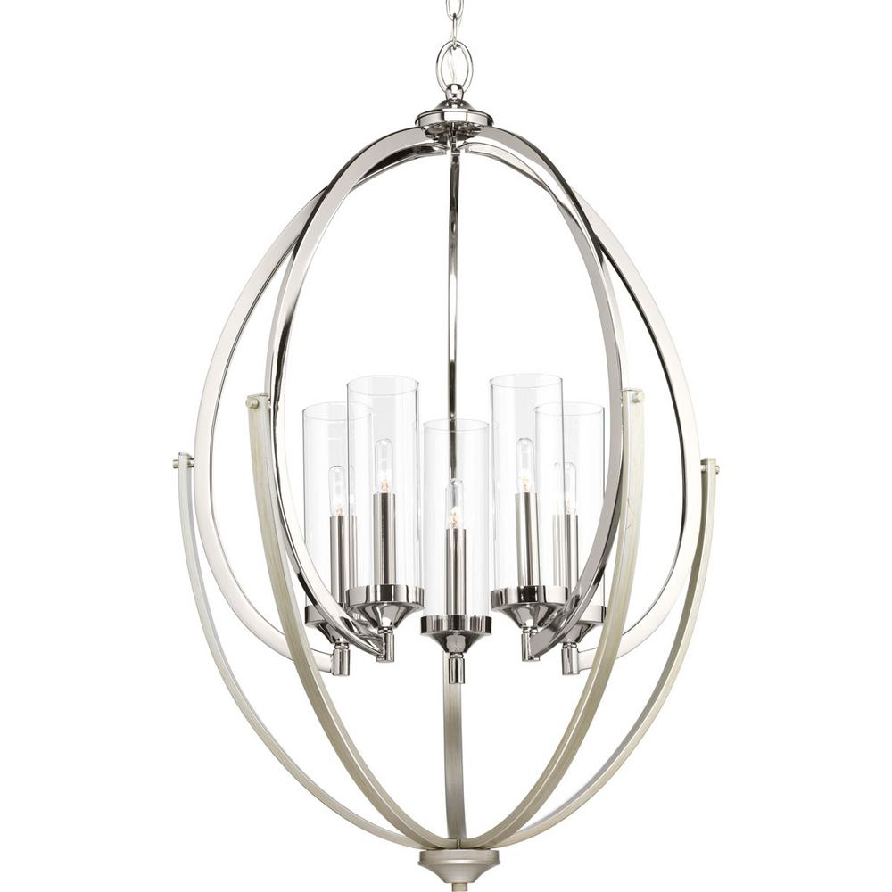 Evoke Collection 5-light Polished Nickel Chandelier with Clear Glass Shade