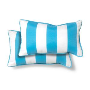 20 in. x 12 in. Turquoise Cabana Outdoor Lumbar Pillow (2 Pack)