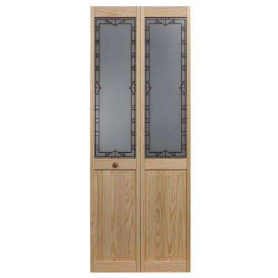 35.5 in. x 80 in. Design Tech Glass Decorative 1/2-Lite Over Raised Panel Pine Wood Interior Bi-fold Door