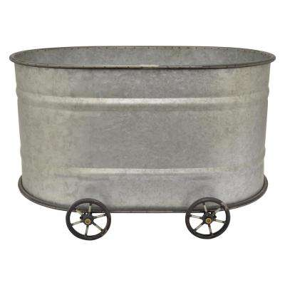 14.5 in. Grey Metal Bucket with Wheel