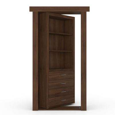 32 in. x 80 in. Flush Mount Assembled Dresser Door Walnut Medium Brown Stained Left-Hand Inswing
