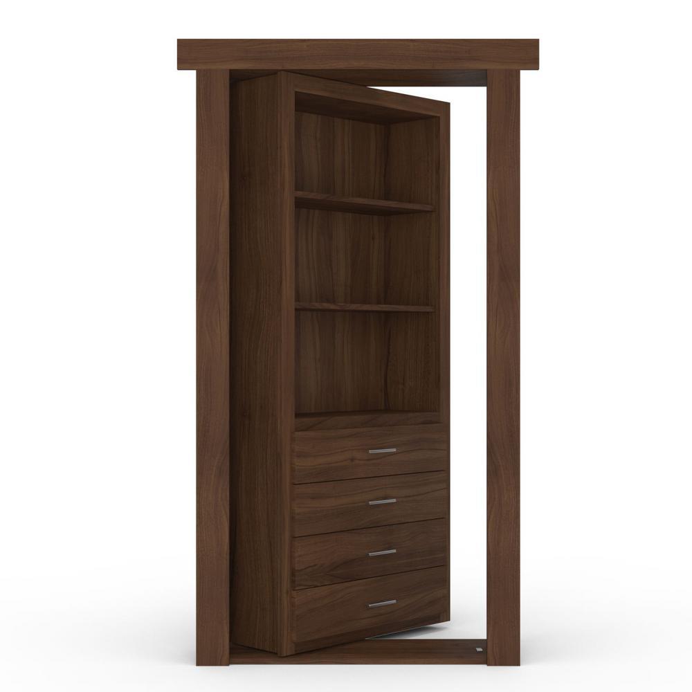 36 in. x 80 in. Flush Mount Assembled Dresser Door Walnut Medium Brown Stained Left-Hand Inswing