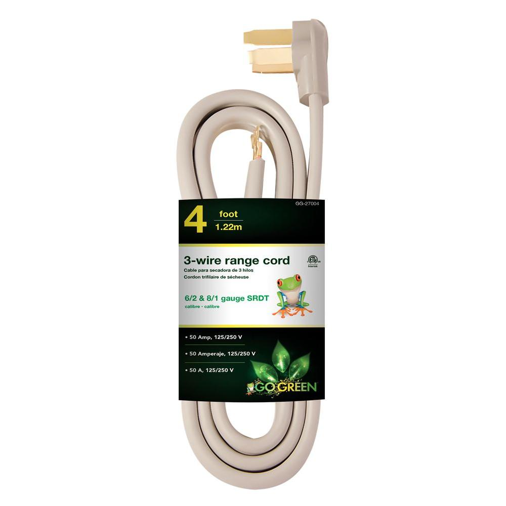 Power By Go Green 4 ft. 6/1 3-Wire Range Cord-GG-27004 - The Home Depot