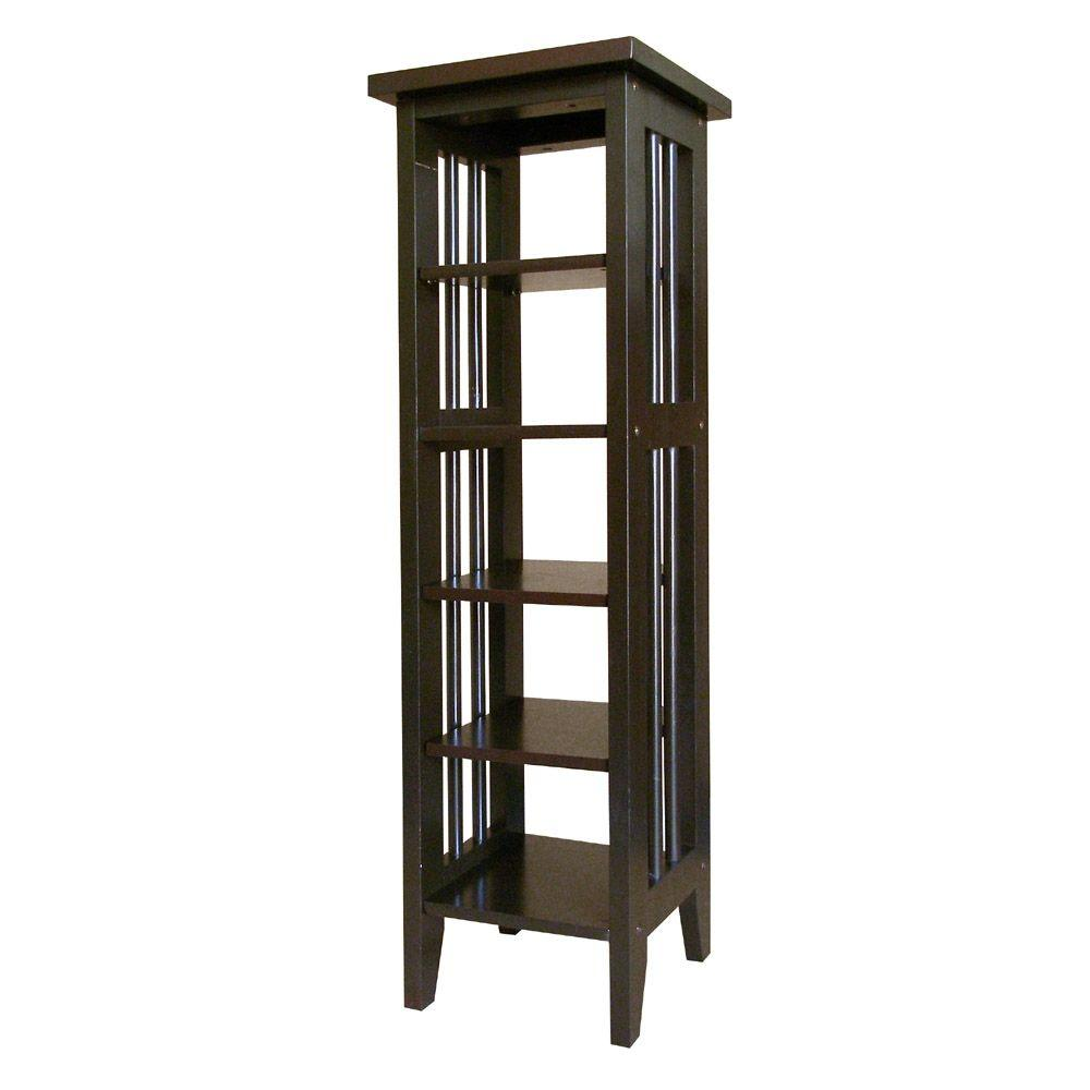 Ore International Espresso Media Storage, Dark Brown Wood Organize your entertainment room in style with this elegant media storage tower from the Home Decorators Collection. A mission-inspired design is constructed from rubber wood for lasting use, accented by a rich espresso finish. Color: Dark Brown Wood.