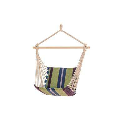 3.3 ft. Portable Hammock Chair in Green Stripe
