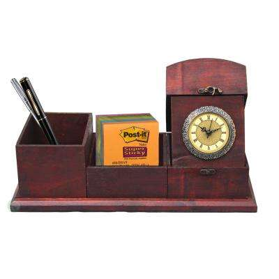 16 in. W x 6 in. D x 6 in. H Antique Wood Desk Organizer with Clock
