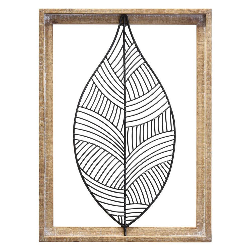 Distressed Outdoor Metal Leaf & Wood Frame Wall Art
