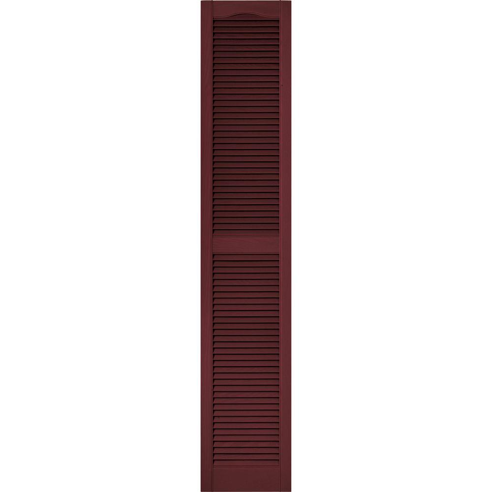 Builders Edge 15 in. x 80 in. Louvered Vinyl Exterior Shutters Pair #078 Wineberry