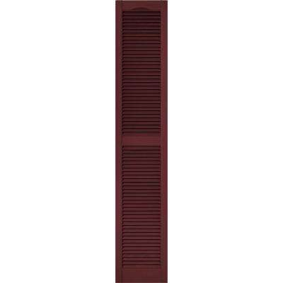 15 in. x 80 in. Louvered Vinyl Exterior Shutters Pair #078 Wineberry
