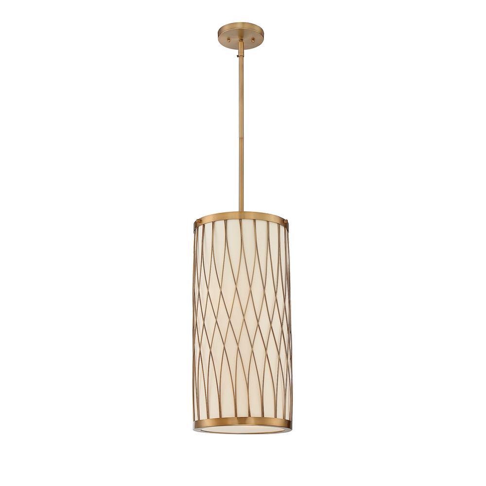 Filament Design 2 Light Warm Brass Pendant With Pale Cream Glass Shade