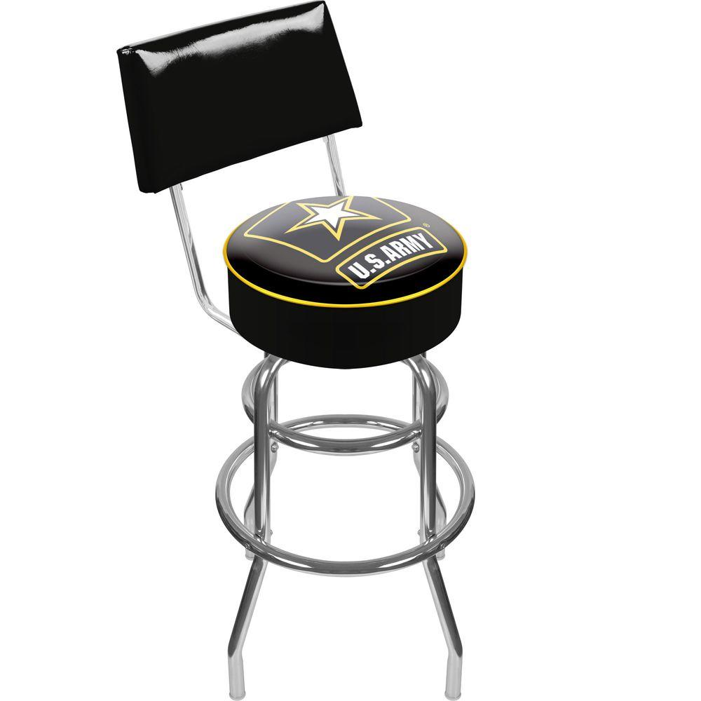 Trademark U S Army 30 In Chrome Padded Swivel Bar Stool