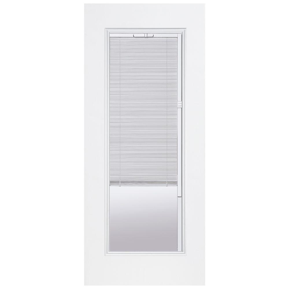 Masonite 32 in. x 80 in. Premium Full Lite Left Hand Inswing Mini Blind Primed Steel Prehung Front Door No Brickmold