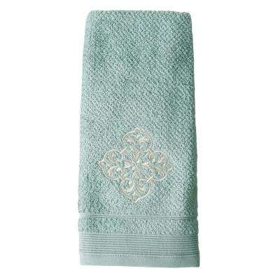 Modena Embroidered Cotton Hand Towel in Light Blue