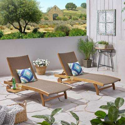 Colby Teak 2-Piece Acacia Wood Outdoor Chaise Lounge