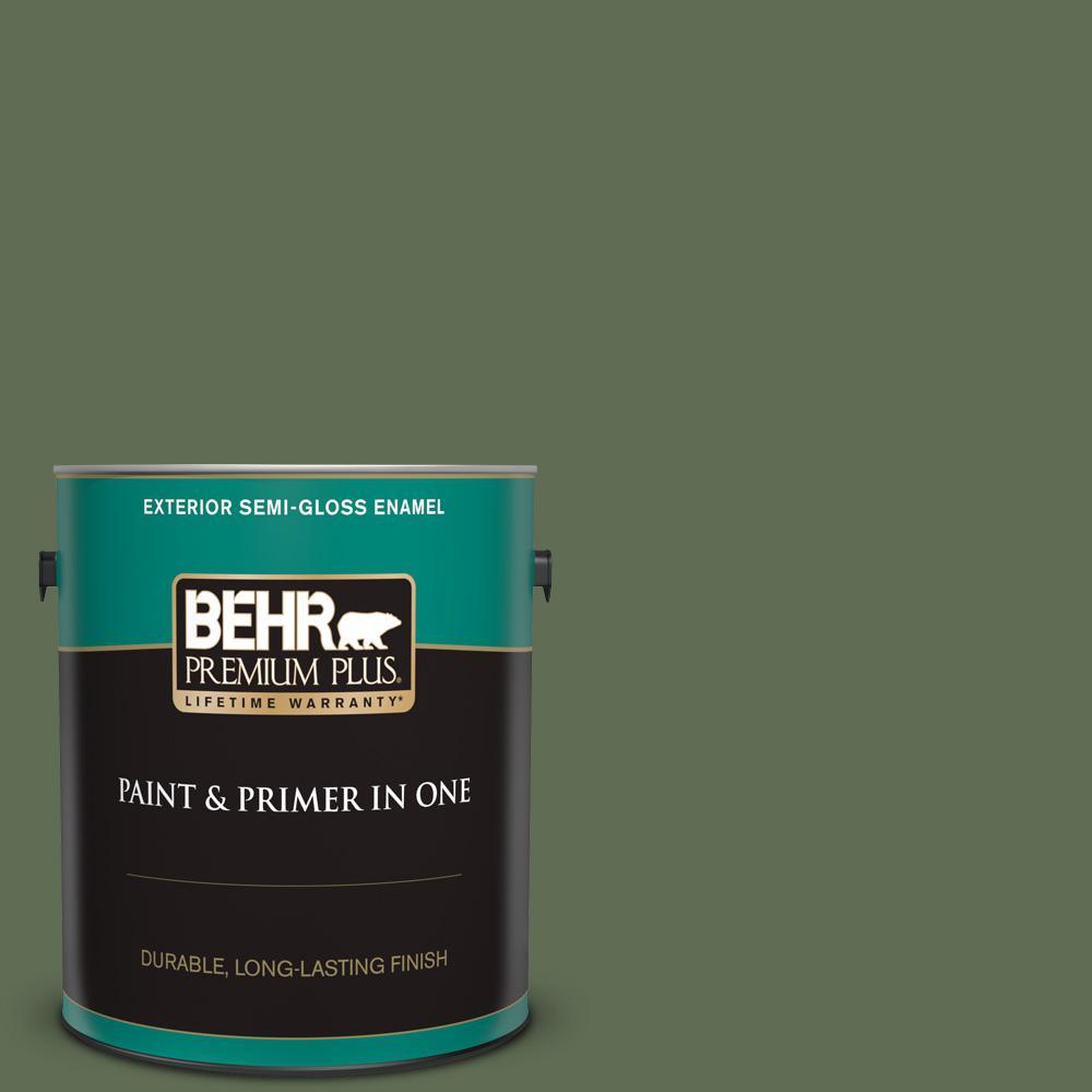 Behr Premium Plus 1 Gal Ecc 38 3 Sea Fern Semi Gloss Enamel Exterior Paint And Primer In One 534001 The Home Depot