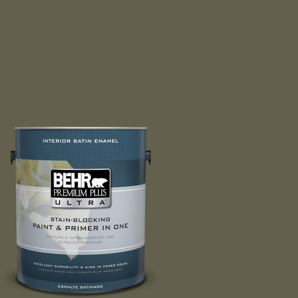 BEHR Premium Plus Ultra 1 gal. #400F-7 Groundcover Satin Enamel Interior Paint and Primer in One