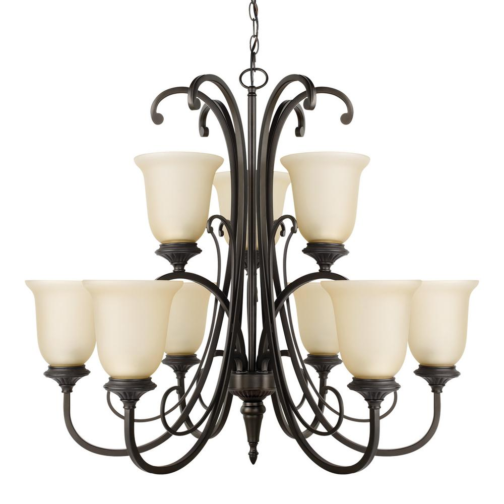 Globe Electric Beverly 9 Light Chandelier With Amber Glass