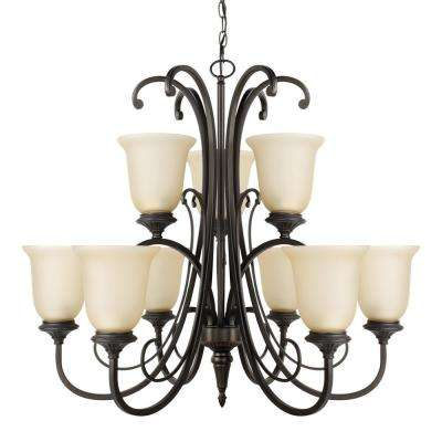 Beverly 9-Light Chandelier with Amber Glass Shade