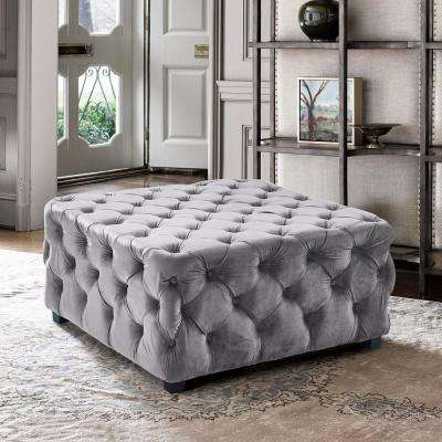 Taurus Grey Velvet Contemporary Ottoman with Wood Legs