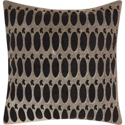 Rabbit Holes Grey and Black Geometric Polyester 20 in. x 18 in. Throw Pillow