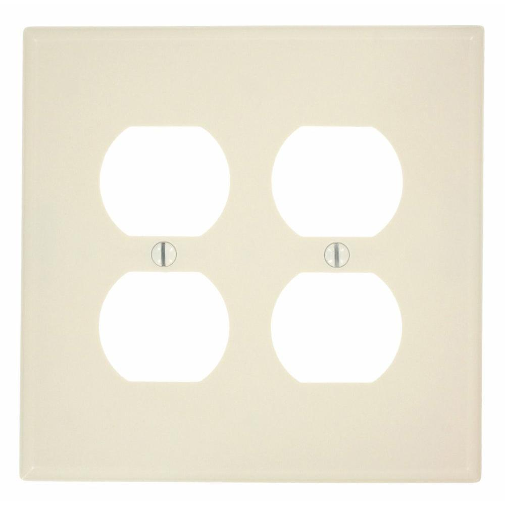 1-Gang Midway Size 2-Duplex Receptacles Plastic Wall Plate, Light Almond