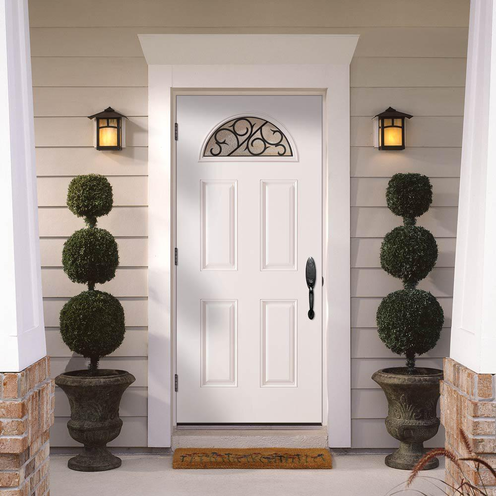 Masonite 36 In X 80 In Crescent Ivy Fan Lite Right Hand Outswing Primed Smooth Fiberglass Prehung Front Door No Brickmold