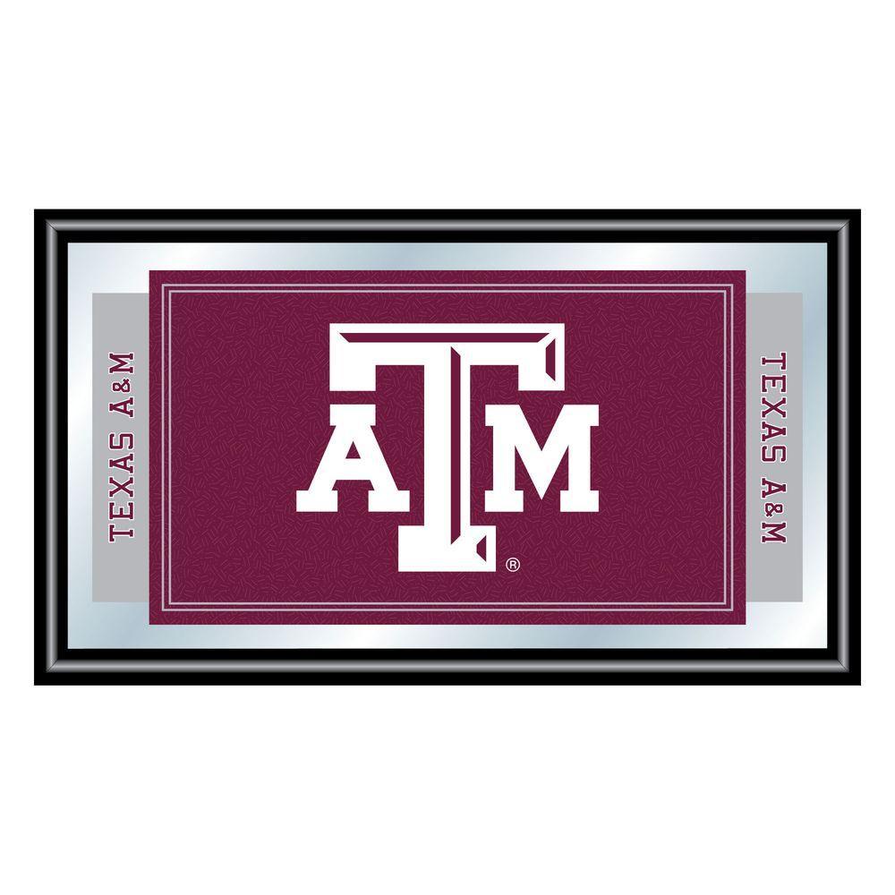 Texas A&M University 15 in. x 26 in. Black Wood Framed Mirror