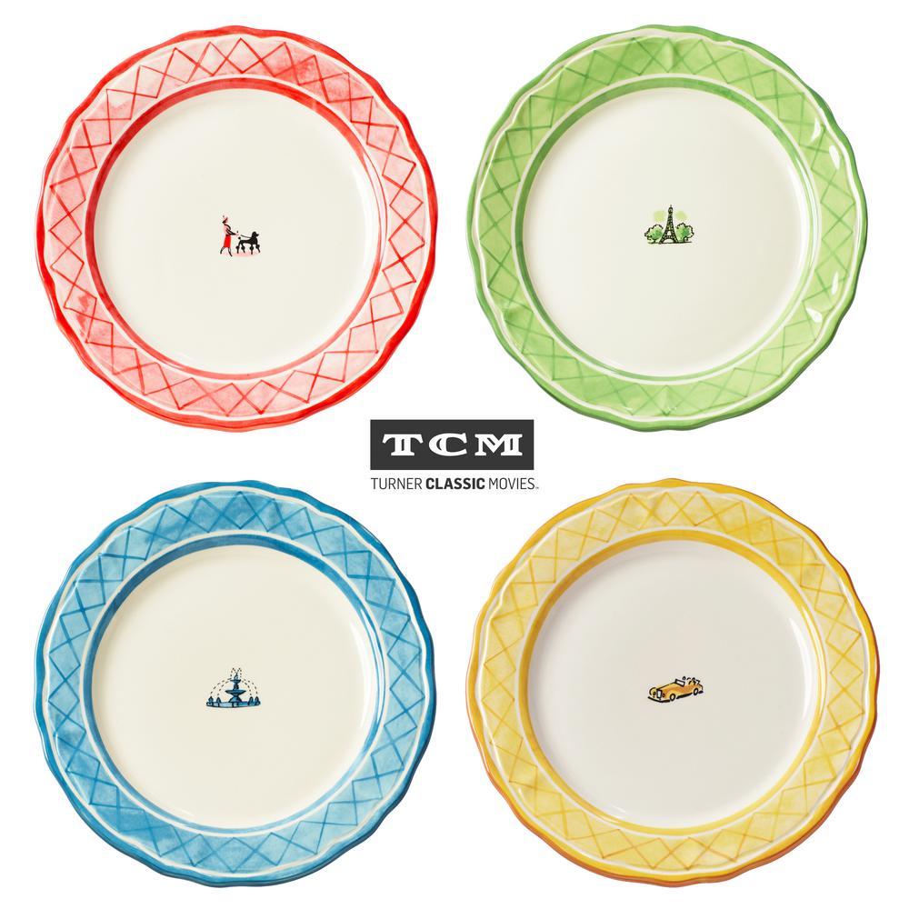 An American In Paris 4-Piece Assorted Dinner Plate Set