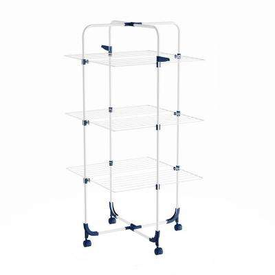 3-Tiered Laundry Station with Collapsible Shelves and Wheels