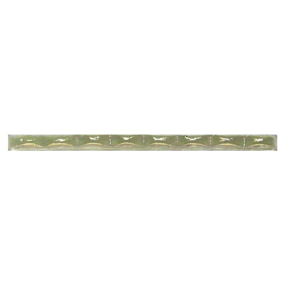 Daltile Cristallo Glass Peridot 1/2 in. x 8 in. Scallop Glass Accent Wall Tile