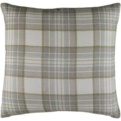 Lanvale Gray Plaid Polyester 22 in. x 22 in. Throw Pillow