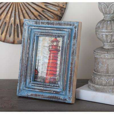 4 in. x 6 in. Distressed Brown and Blue Wood Picture Frame
