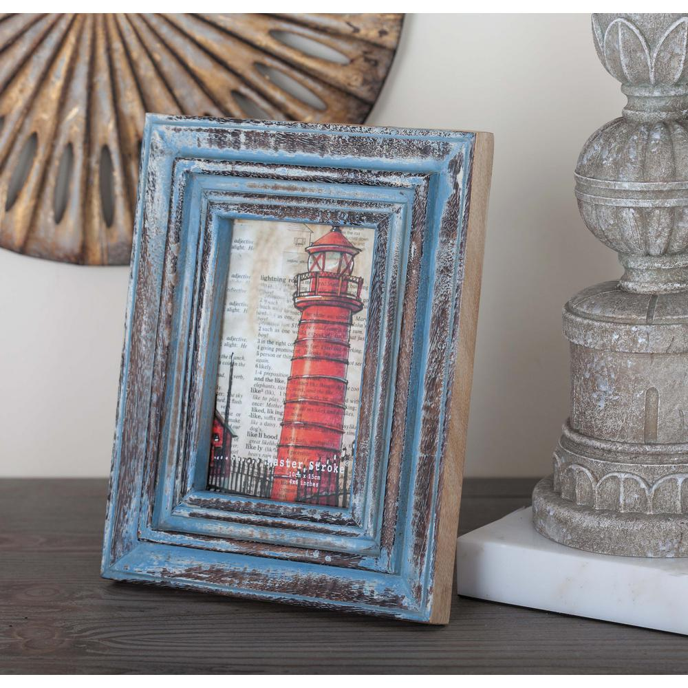 4 in. x 6 in. Distressed Brown and Blue Wood Picture Frame-79052 ...