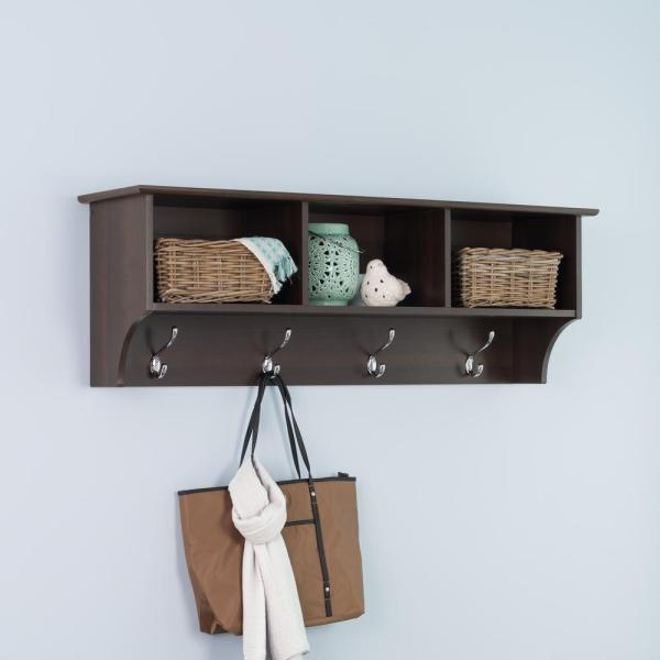 Wooden Storage Shelf With Wicker Baskets /& Coat Hooks Hanger Wall Unit White