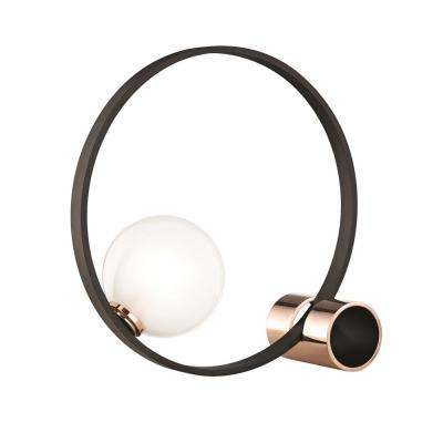 Zena 18 in. Polished Copper LED Table Lamp with Clear Glass Outside Etched Glass Inside and Black Accents