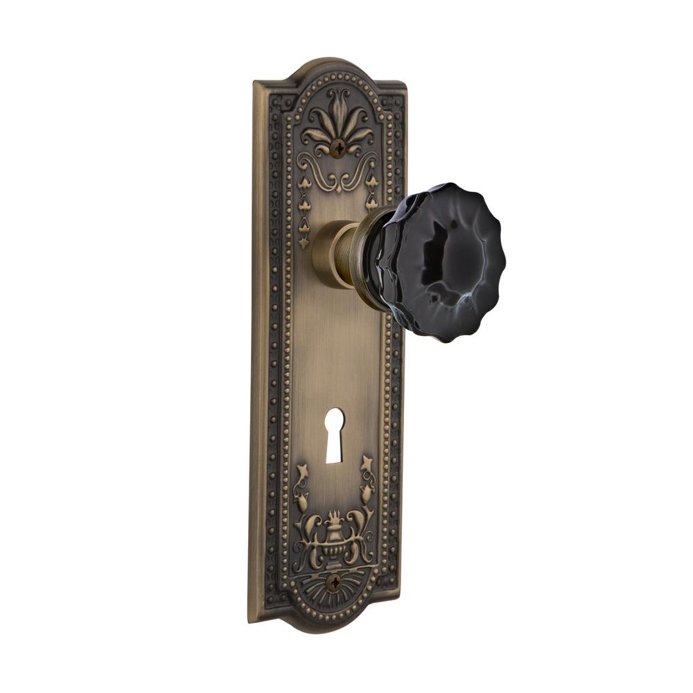 Nostalgic Warehouse Meadows Plate With Keyhole 2 3 8 In Backset Antique Brass Privacy Bed Bath Crystal Black Glass Door Knob 727382 The Home Depot
