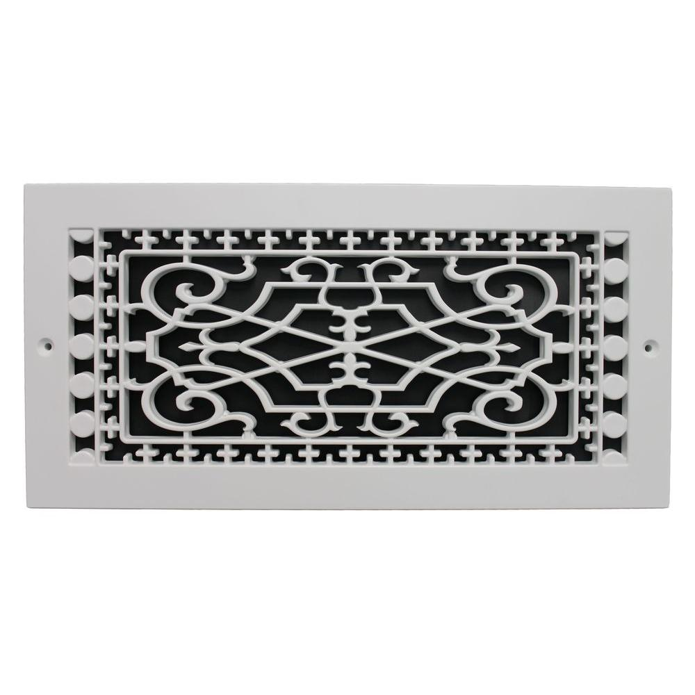 SMI Ventilation Products Victorian Base Board 14 in. x 6 in. Opening, 8 in. x 16 in. Overall Size, Polymer Decorative Return Air Grille, White