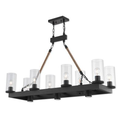 Metuchen 11-Light Bronze Linear Chandelier with Clear Glass Shades
