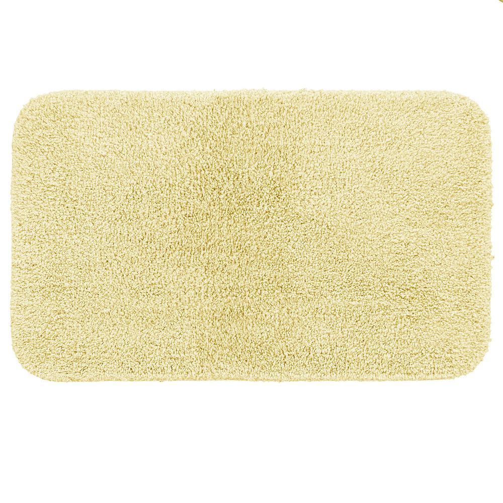 Basic Bath 19.5 in. x 32 in. Nylon Bath Mat in Light Yellow