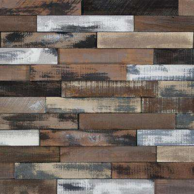 Take Home Sample - Deco Planks Weathered Brown Solid Hardwood Wall Planks - 5 in. x 7 in.