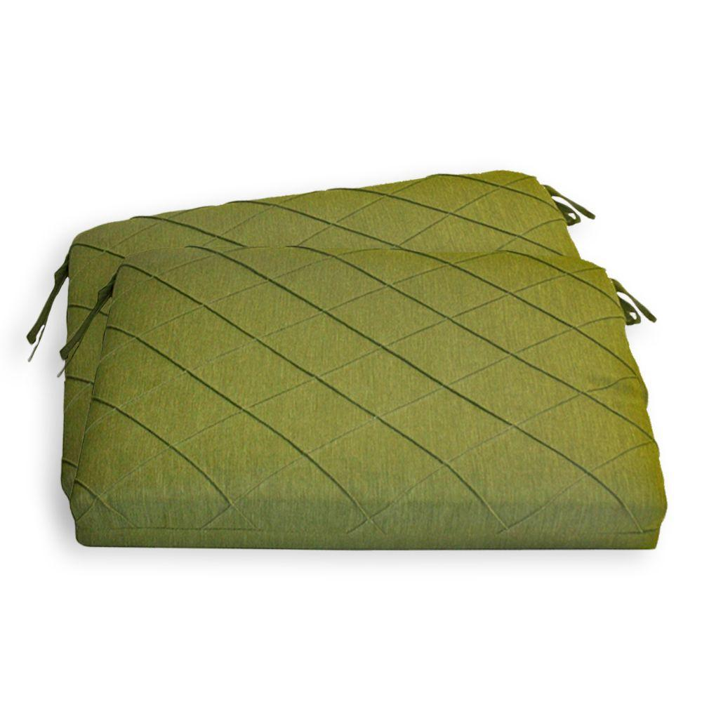 Peak Season Green Quilted Outdoor Seat Pad (2-Pack)-DISCONTINUED
