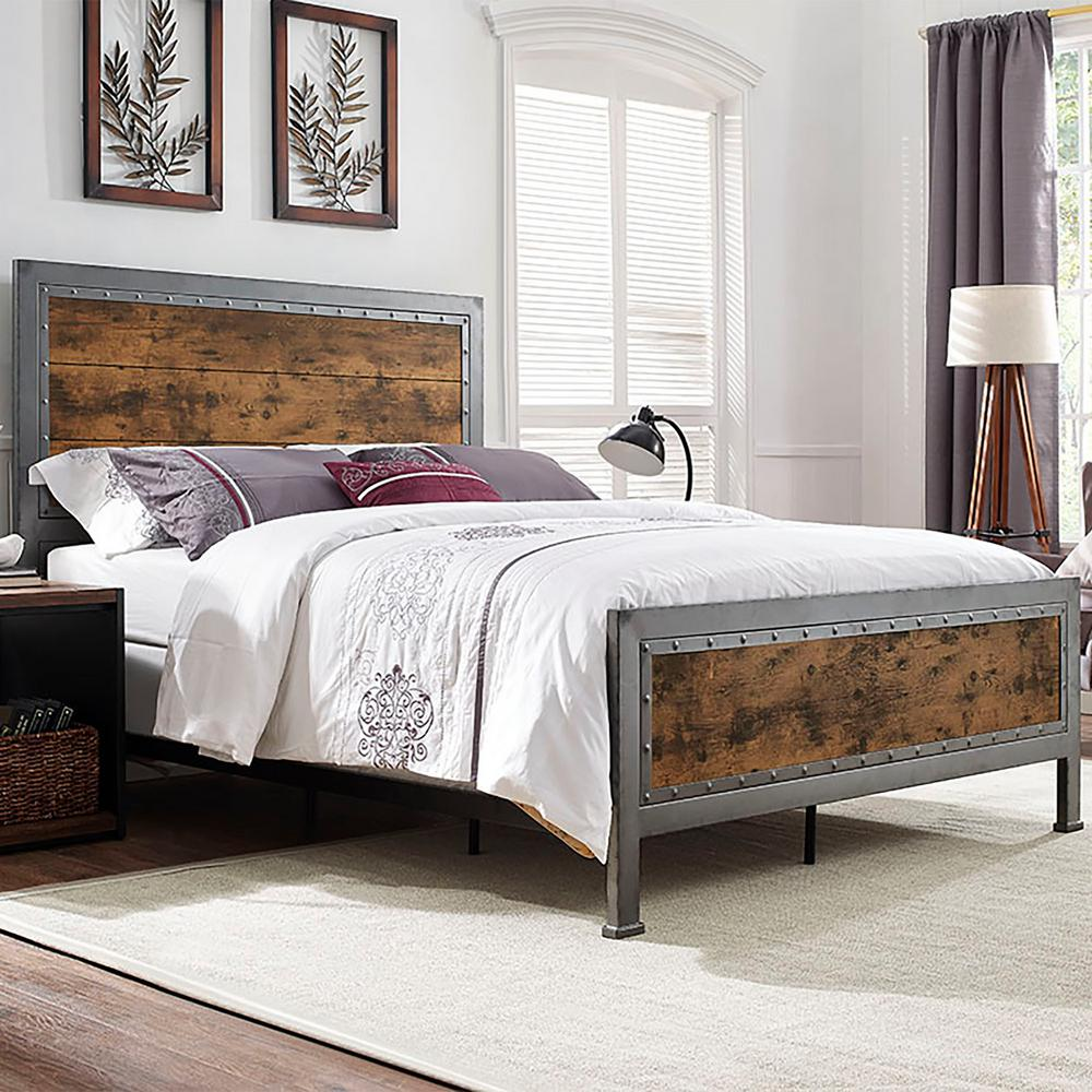 walker edison furniture company brown queen bed frame - Queen Bedroom Frames