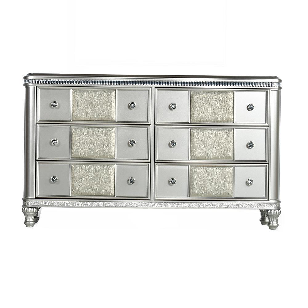 Midtown 6-Drawer Modern Silver Dresser