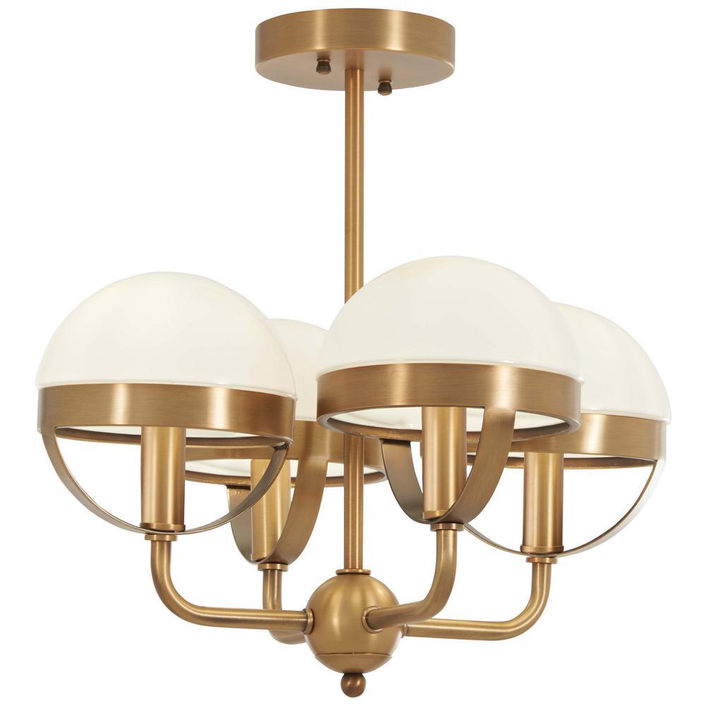 Tannehill 4-Light Aged Brass Semi-Flush Mount Light