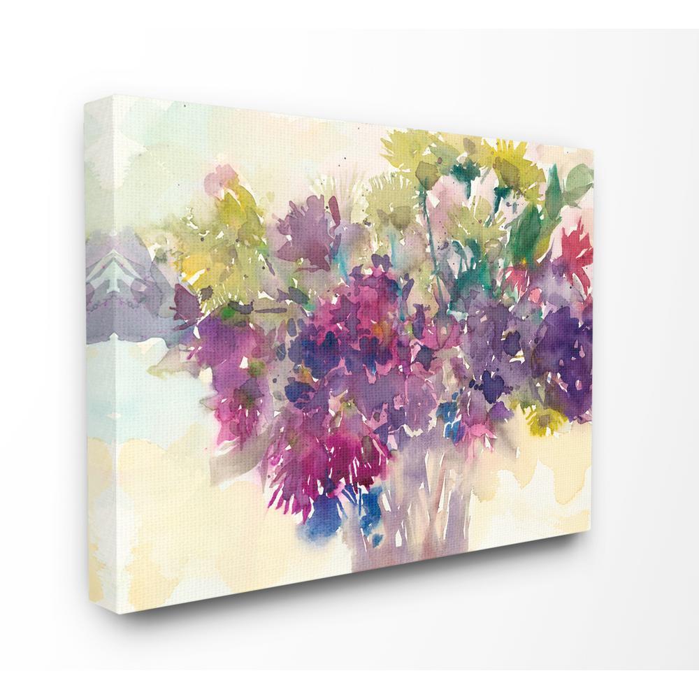 "16 in. x 20 in. ""Bursting Bright Purple Watercolor Bouquet"" by Samuel Dixon Canvas Wall Art"