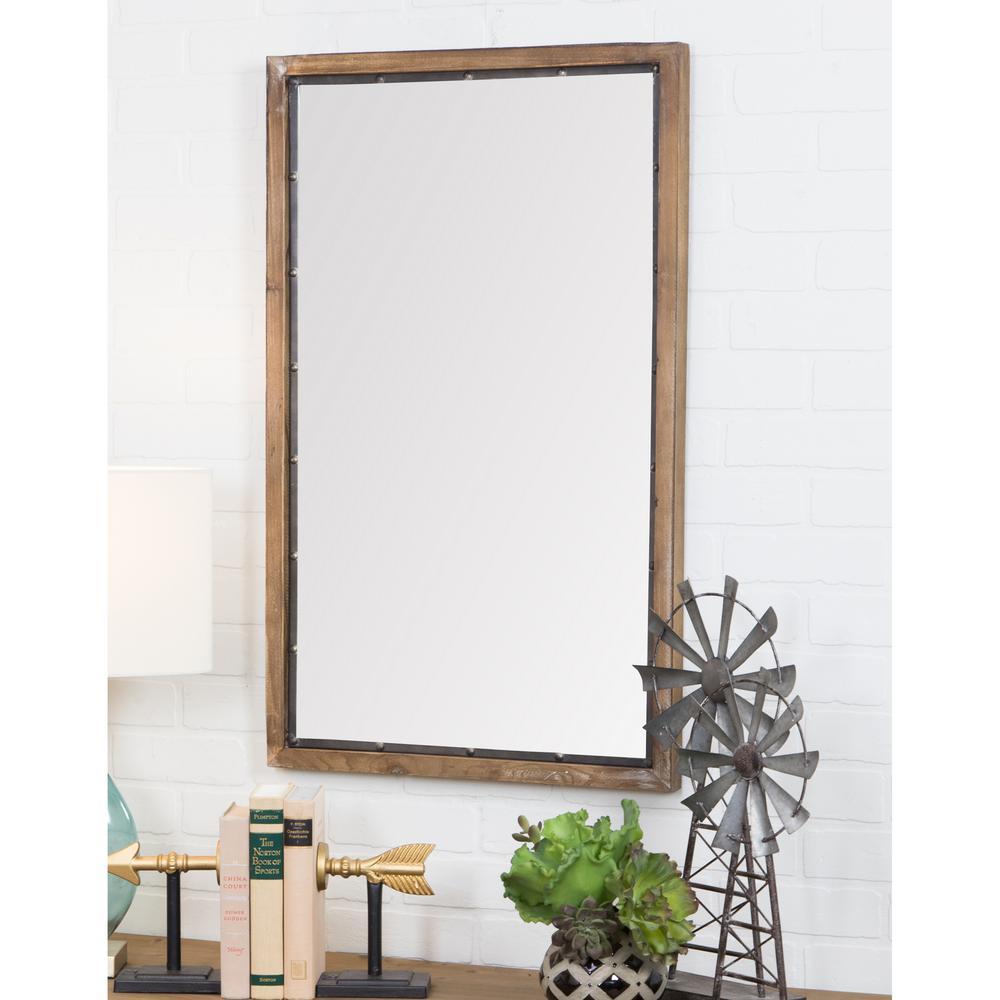 Aspire home accents marlon rustic wood wall mirror